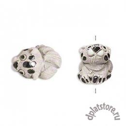 Бусина кошка керамика серая 1 шт