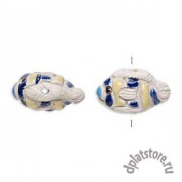 Бусина рыба керамика сине-желтая 1 шт