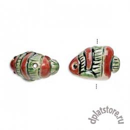 Бусина рыба керамика красно-зеленая 1 шт