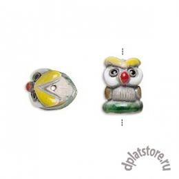 Бусина сова керамика бело-желто-зеленая 1 шт