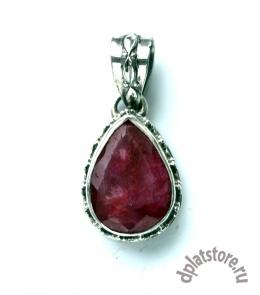 Серебряный кулон 925 пр. с рубином