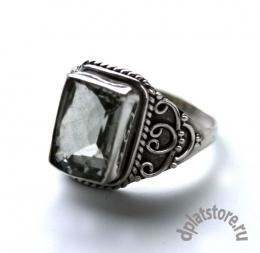 Серебряное кольцо 925 пр. с зеленым кварцем р-р 18