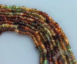 Янтарно-зеленый турмалин рондель нить