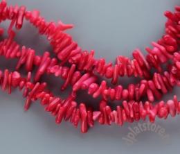Коралл красный бусины палочки нитка