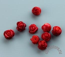 Кабошон резная роза коралл красный 1 шт
