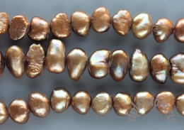 Жемчуг пуговка бронзово-золотой нить