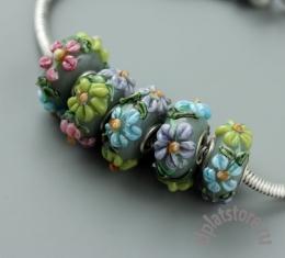 Бусины в стиле пандора мятные с цветами 1 шт