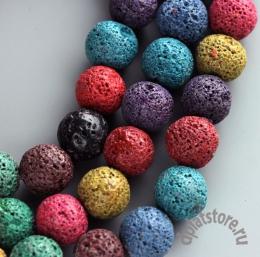 Бусины лава цветные нить