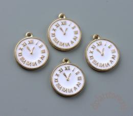 Подвеска часы с белой эмалью 1 шт