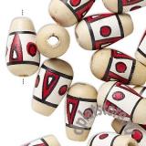 Бусины деревянные капли с рисунком 1 шт