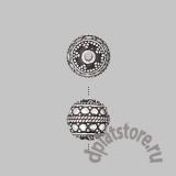 Бусины Бали шар с кругами серебро 925 1 шт