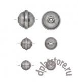 Бусина шар с полоской старое серебро 1 шт