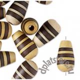 Бусины деревянные капли с полосками 1 шт