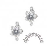 Коннектор серебряный цветок 925 1 шт