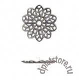Филигранный элемент цветок вороненый 1 шт