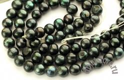 Жемчуг темно-зеленый овал нить