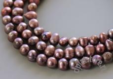 Жемчуг темно-розовый овал 8 мм нить