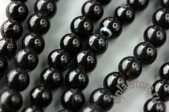 %Агат черный шар 8 мм С ТРЕЩИНАМИ