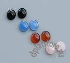Кабошоны агат, розовый кварц и оникс 12х10 мм 1 шт
