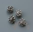 Бусина цветочный мотив круглая серебро 925 1 шт