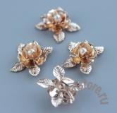 Цветы розы из металла золотой цвет 1 шт