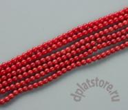 Коралл красный шар 4 мм нить