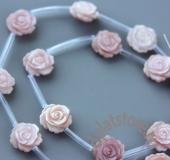 Бусина резная розовая роза 1 шт