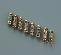 Бусина клуазоне золото с красным 1 шт