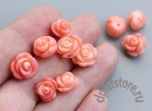 Полупросверленная резная роза коралл розовый 1 шт