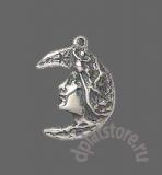 Серебряная луна стилизованная подвеска 1 шт